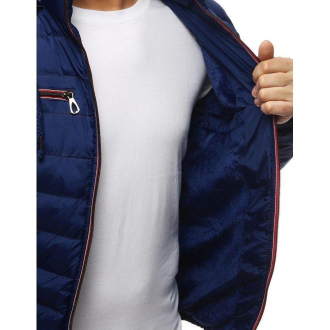 Tmavomodrá prešívaná bunda na zimu pre pánov