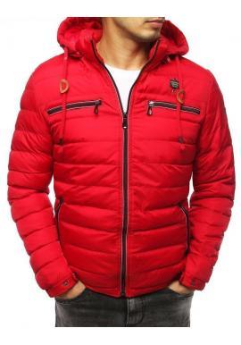 Prešívané pánske bundy červenej farby na zimu