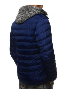 Prešívaná pánska bunda tmavomodrej farby na zimu
