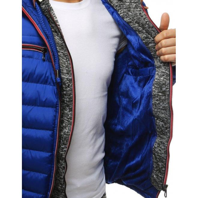 Modrá prešívaná bunda na zimu pre pánov