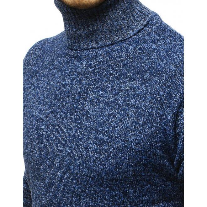 Teplý pánsky rolák modrej farby