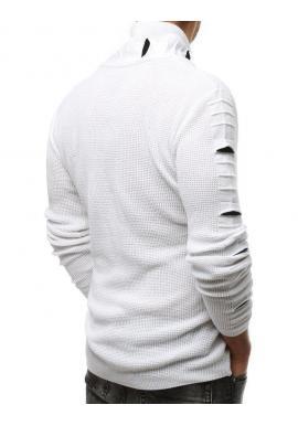 Biely vlnený sveter s golierom na zips pre pánov