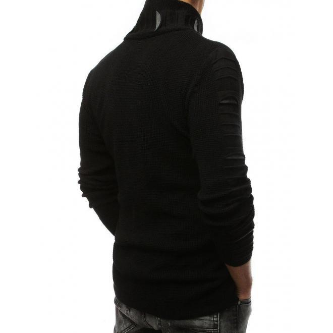 Pánsky vlnený sveter s golierom na zips v čiernej farbe