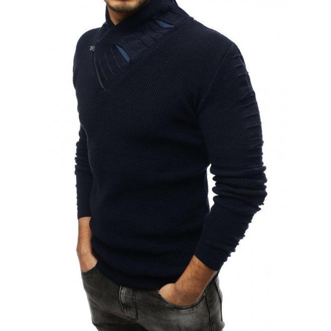 Vlnený pánsky sveter tmavomodrej farby s golierom na zips