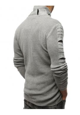 Sivý vlnený sveter s golierom na zips pre pánov