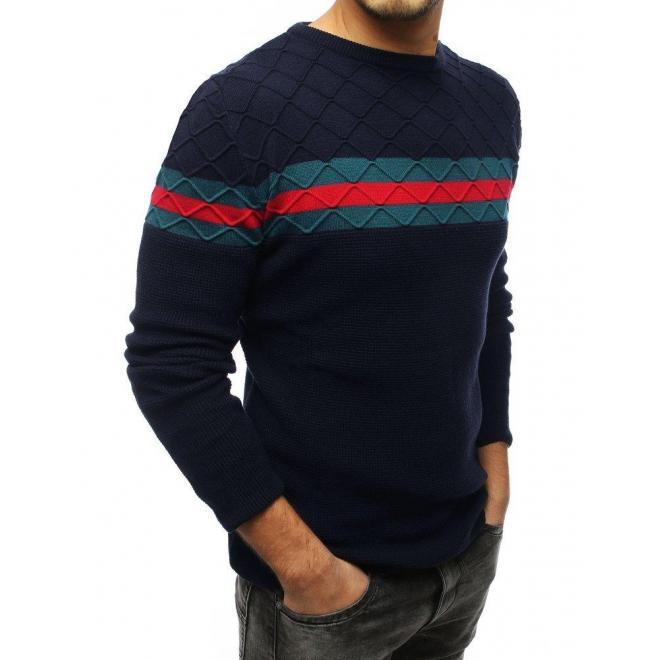 Štýlový pánsky sveter tmavomodrej farby s kontrastnými pásmi