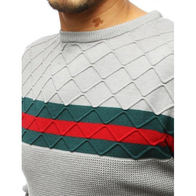 Svetlosivý štýlový sveter s kontrastnými pásmi pre pánov