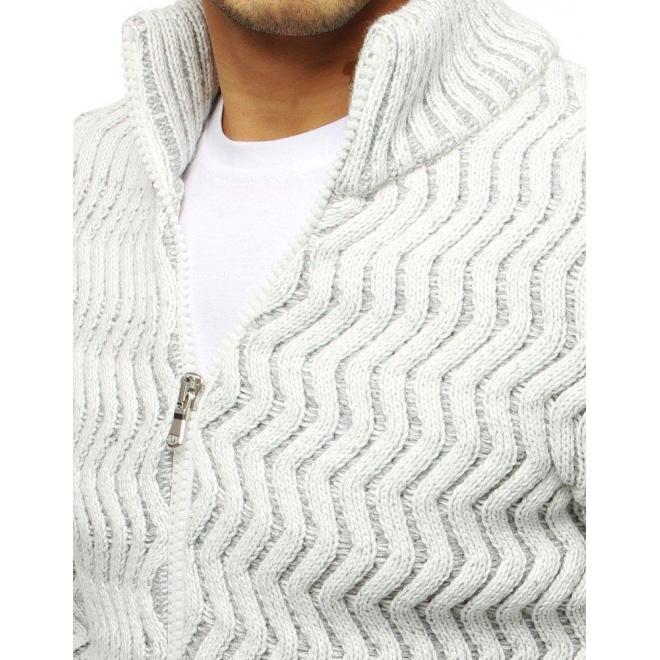Pánsky hrubý sveter so zapínaním na zips v bielej farbe