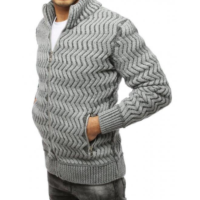 Sivý hrubý sveter so zapínaním na zips pre pánov