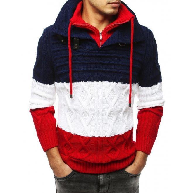 Pánsky vlnený sveter so zapínacím golierom v trojfarebnom prevedení