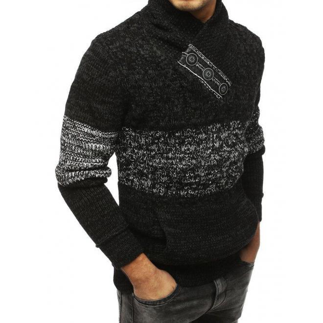 Bavlnený pánsky sveter čiernej farby s klokaním vreckom
