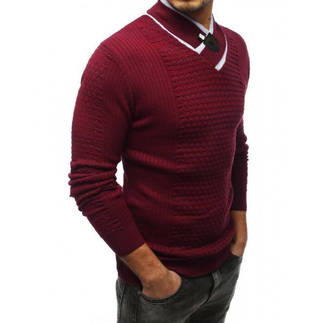 Bordový teplý sveter so šálovým golierom pre pánov
