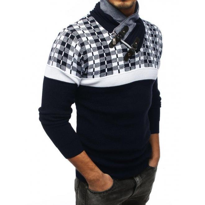 Pánsky teplý sveter so šálovým golierom v modro-bielej farbe