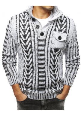 Hrubý pánsky sveter bielej farby s vreckom na hrudi