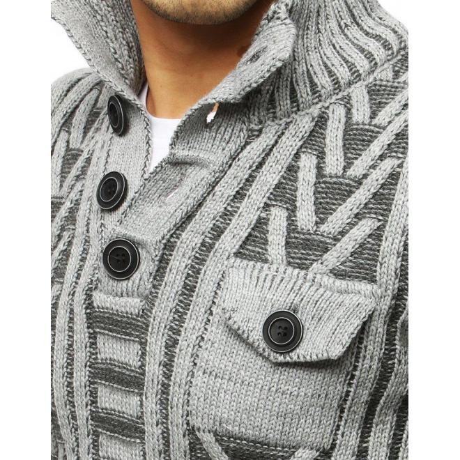 Sivý hrubý sveter s vreckom na hrudi pre pánov
