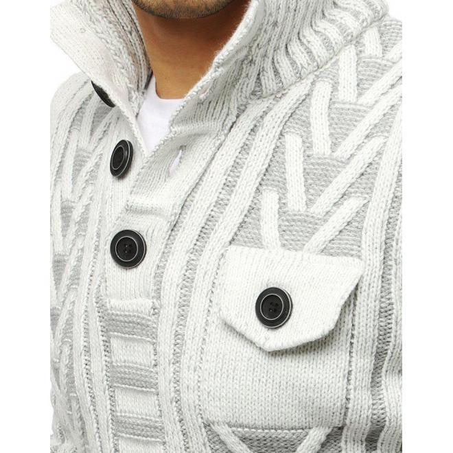 Pánsky hrubý sveter s vreckom na hrudi v bielej farbe