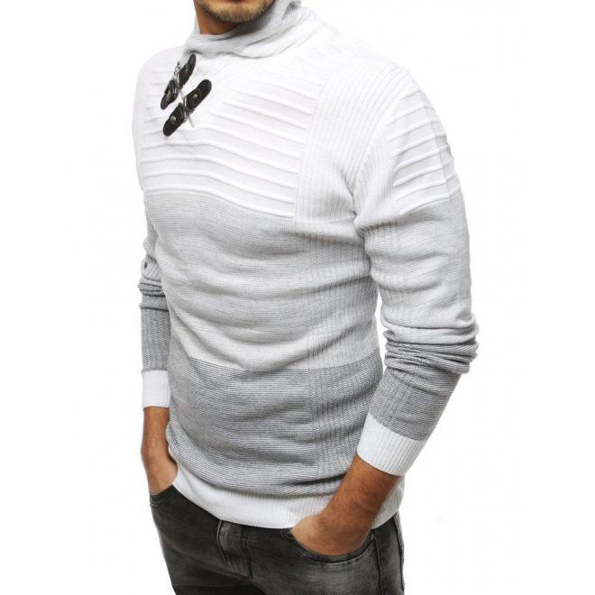Teplý pánsky sveter bielej farby so šálovým golierom