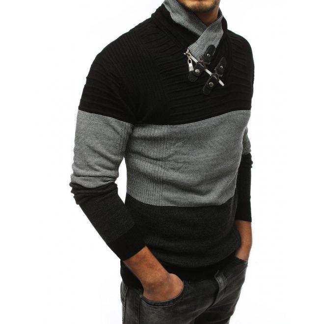 Čierny teplý sveter so šálovým golierom pre pánov