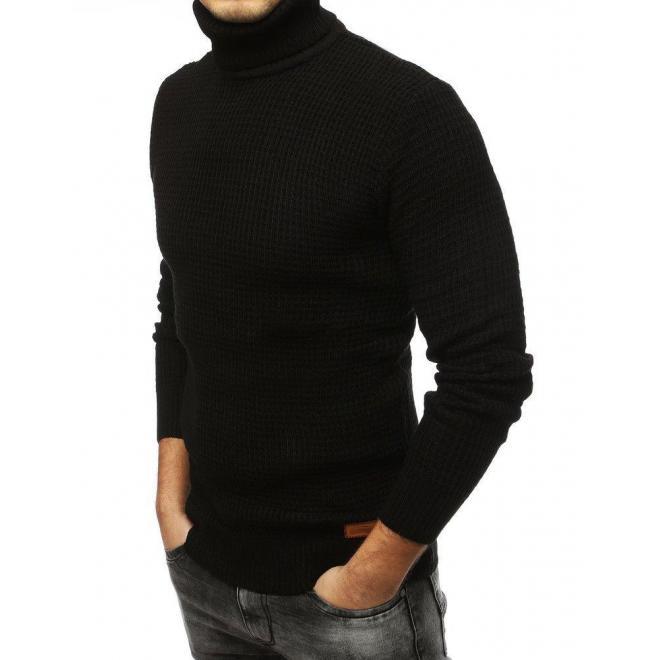Pánsky módny rolák s nášivkou v čiernej farbe