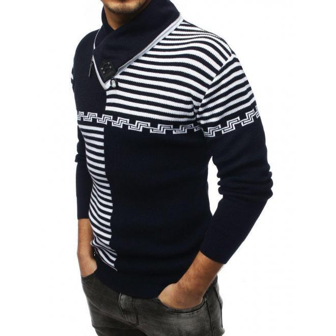 Vzorovaný pánsky sveter tmavomodrej farby so šálovým golierom