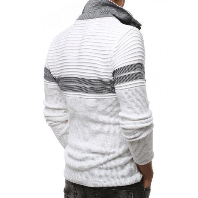 Biely vlnený sveter so zapínacím golierom pre pánov