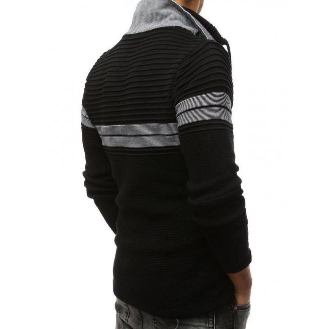 Pánsky vlnený sveter so zapínacím golierom v čiernej farbe