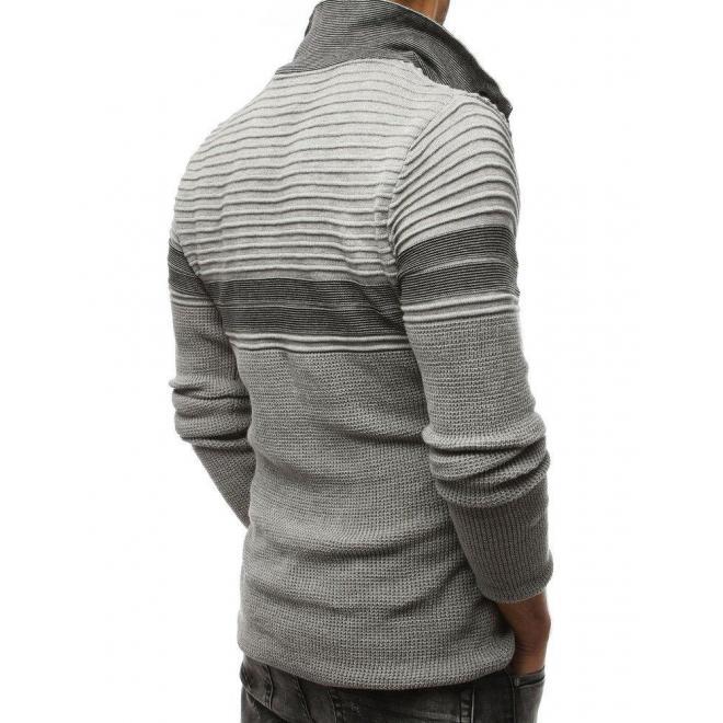 Vlnené pánske svetre sivej farby so zapínacím golierom