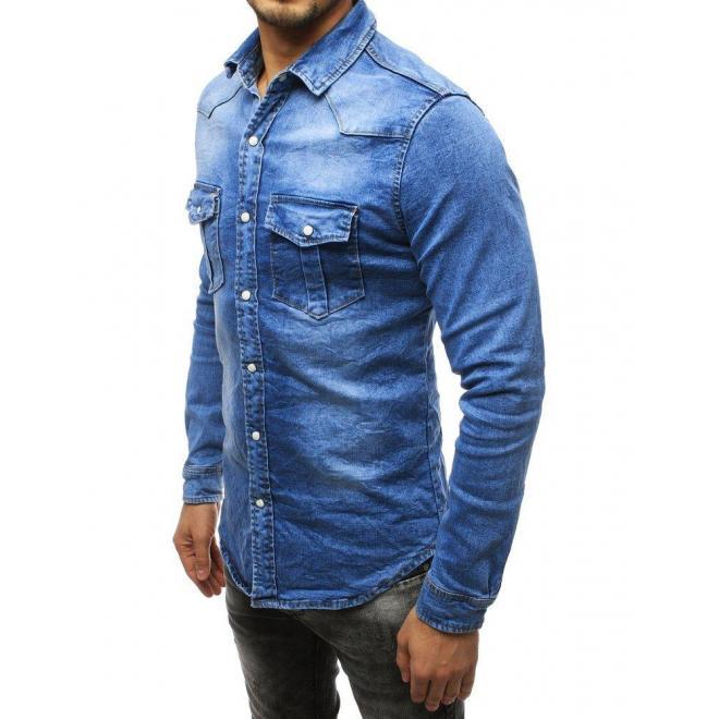 Rifľová pánska košeľa svetlomodrej farby s dlhým rukávom