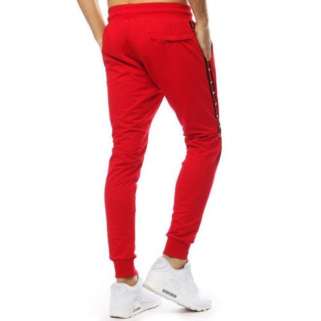 Červené štýlové tepláky s ozdobnými pásmi pre pánov