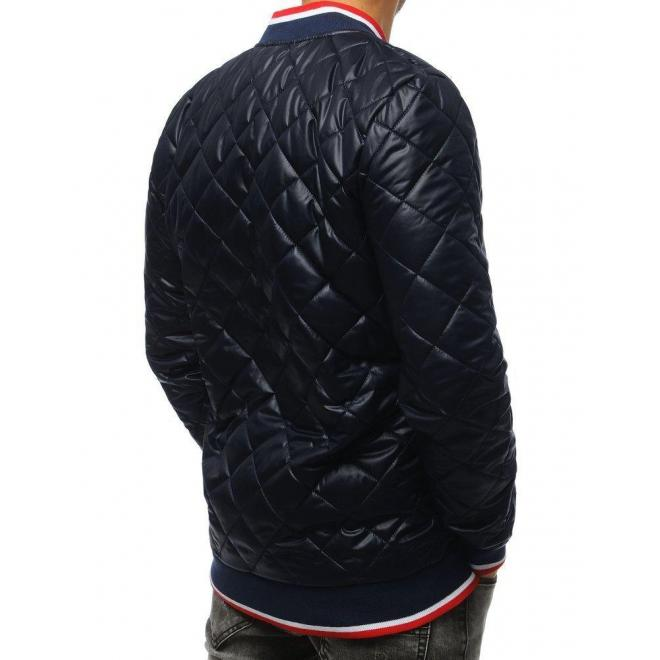 Pánska prešívaná Bomber bunda s nášivkou v tmavomodrej farbe