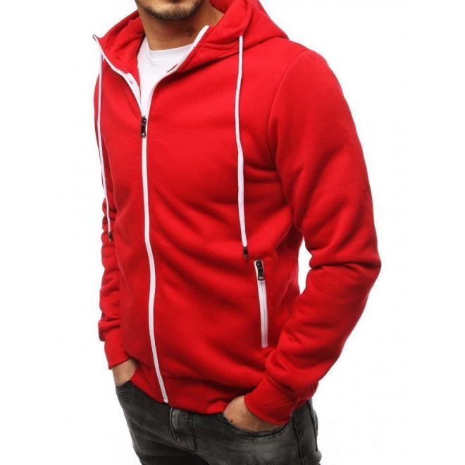 Červená klasická mikina s kapucňou pre pánov