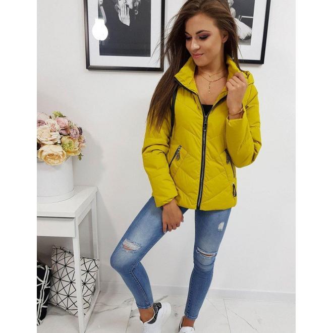Žltá prešívaná bunda s kapucňou pre dámy