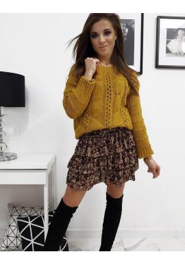 Štýlový dámsky sveter horčicovej farby