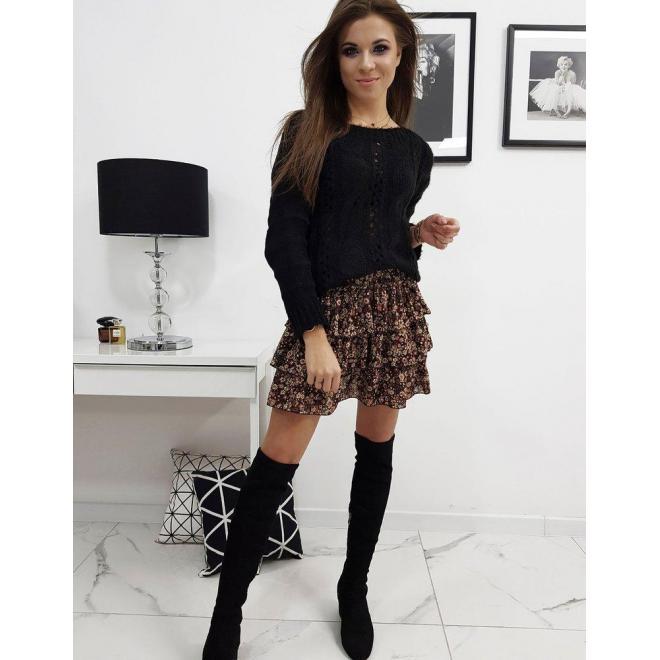 Čierny štýlový sveter pre dámy