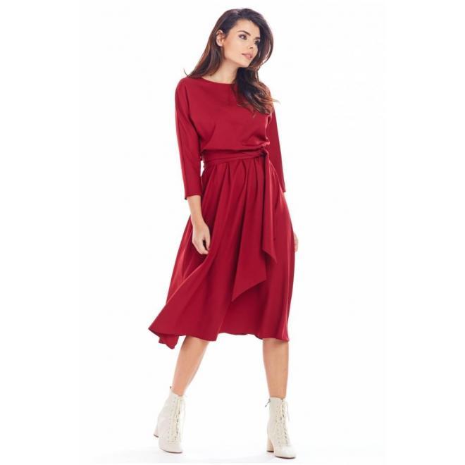 Bordové midi šaty s opaskom pre dámy