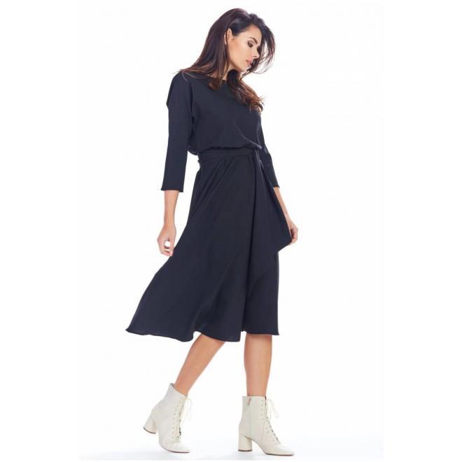Dámske midi šaty s opaskom v čiernej farbe