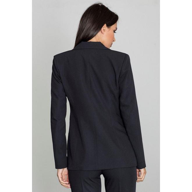 Dámske klasické sako s jedným gombíkom v čiernej farbe vo výpredaji