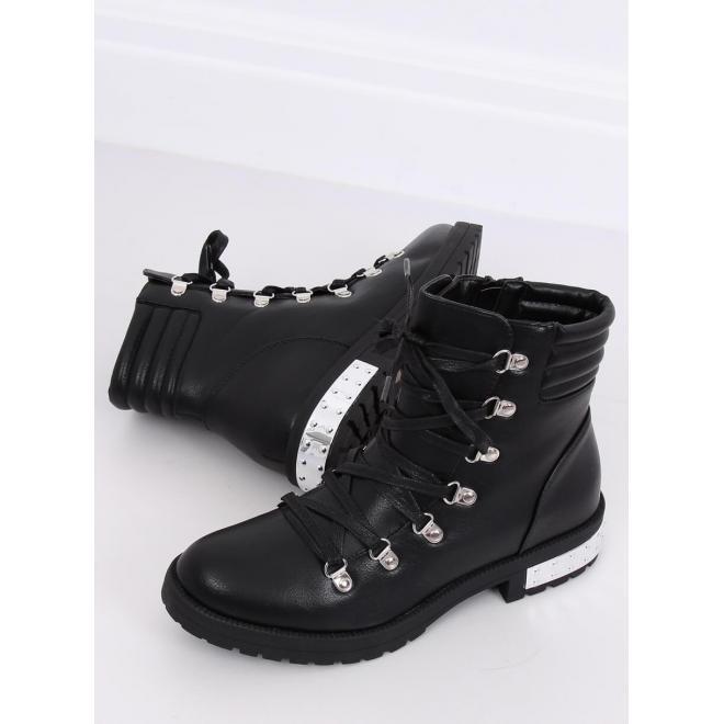 Dámske štýlové topánky v rockovom štýle v čiernej farbe