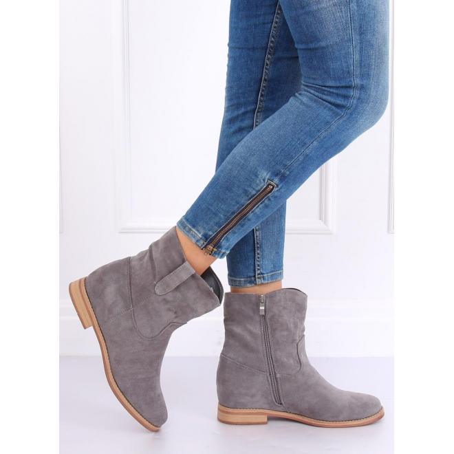 Sivé semišové topánky na skrytom opätku pre dámy