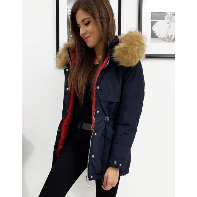 Dámska obojstranná bunda s kapucňou v tmavomodrej farbe