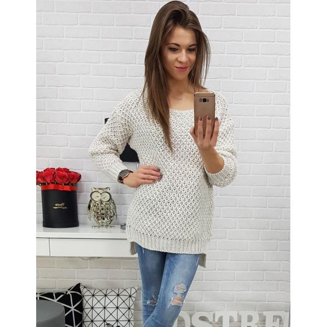 Biely módny sveter pre dámy