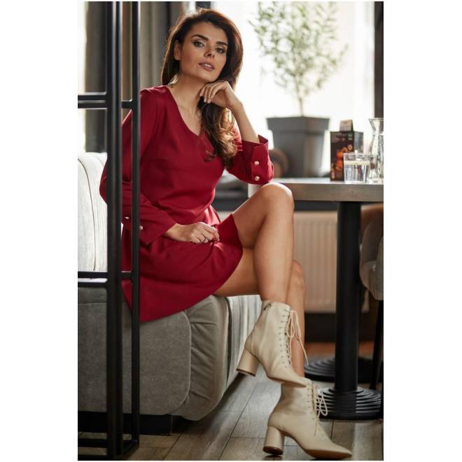 Bordové krátke šaty s volánom pre dámy