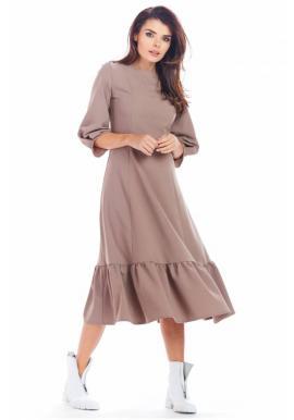 Kapučínové dlhé šaty s volánom pre dámy