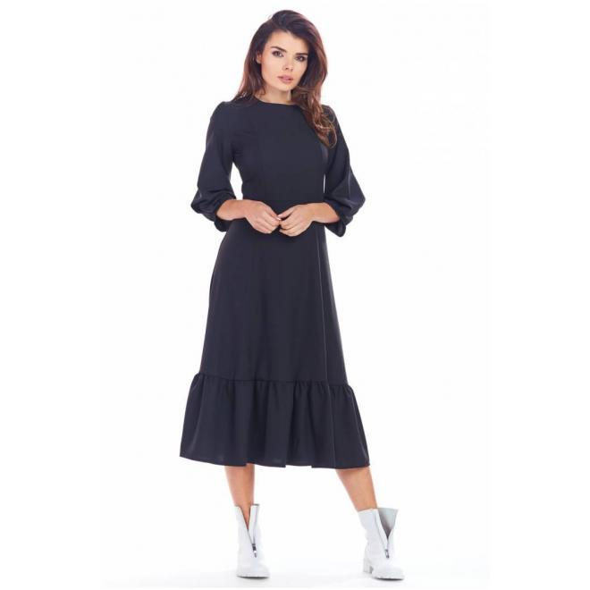 Dámske dlhé šaty s volánom v čiernej farbe