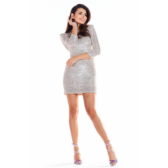 Dámske mini šaty s flitrami v béžovej farbe