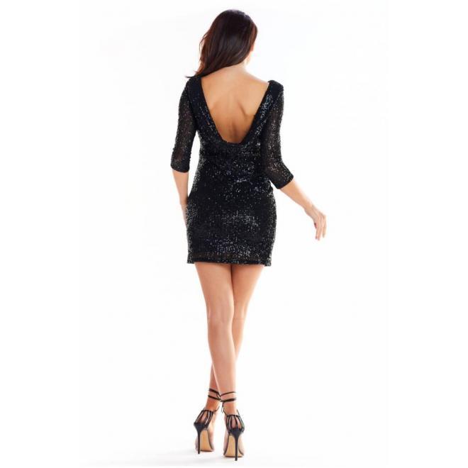 Čierne mini šaty s flitrami pre dámy