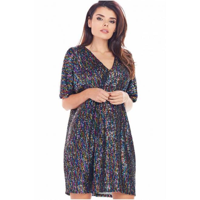 Voľné dámske šaty s farebnými flitrami