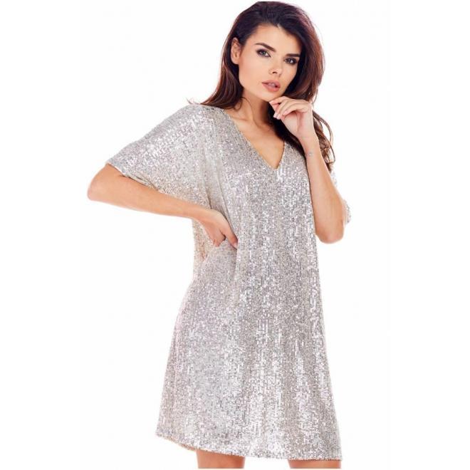 Dámske voľné šaty s flitrami v béžovej farbe