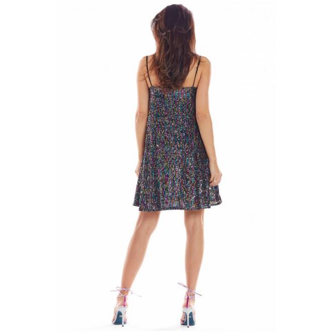 Flitrované farebné dámske šaty na ramienka