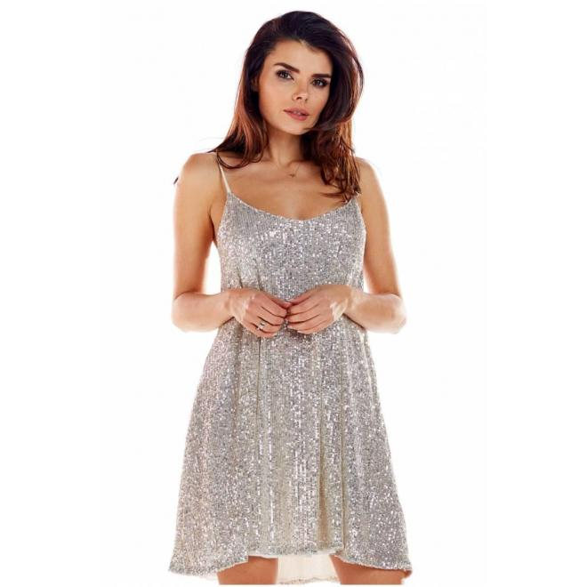 Dámske flitrované šaty na ramienka v béžovej farbe